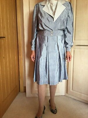 Genuine Vintage Smodell Blue/White Contrast Stripe Three Peice Suit, Size Small.