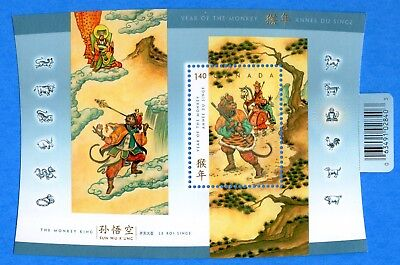 2004 Canada #2016 Chinese Lunar Year of the Monkey Souvenir Stamp Sheet Mint-NH