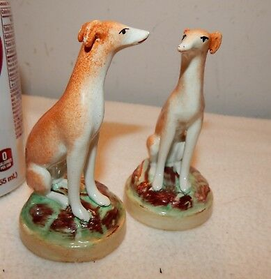 """Vintage 1860's Staffordshire Pottery 4 1/8 """" Greyhound Dog Figurines / Whippets"""