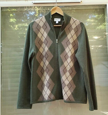Charter Clubwomen 2ply cashmere cardigan Argyle with a  zipper