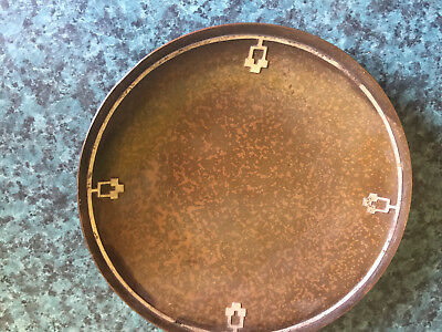 Antique HEINTZ Arts and Craft Copper  and Sterling Platel- Stamped