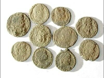 10 ANCIENT ROMAN COINS AE3 - Uncleaned and As Found! - Unique Lot 21144