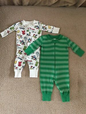 Hanna Andersson Lot Of Boy's One Piece Long Sleeve Footless Pajamas Sz 0-6 Mos.