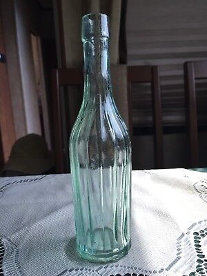 "Antique Aqua Glass Pepper Sauce Bottle 8"" with 14 ribs - Blown in Mold 1890's"