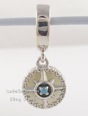 COMPASS ROSE Authentic PANDORA Blue CRYSTAL Dangle Charm 797196EN23 NEW w POUCH!