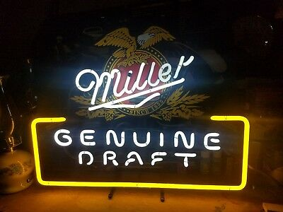 Vintage Miller Genuine Draft Neon Sign Beer Miller Brewing