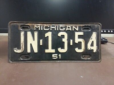 1951 Michigan License Plate Tag Original