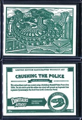 2015 Topps Mars Attacks Occupation Dinosaurs Woodcut Complete 4 Card Set (A)