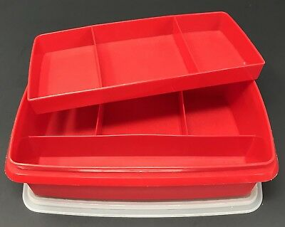 Tupperware Vintage Tuppercraft Stow N Go Organizer Craft Storage Box Red #787