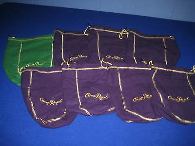"""Crown Royal Felt Bag Lot - Lot Of 8 - 4 Are Large 12""""x 8-1/2"""" 4 Are 9"""" X 7"""" Size"""