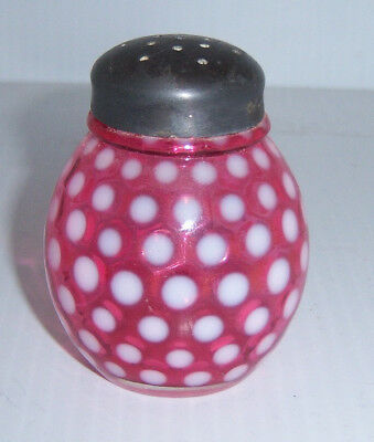 Art Glass Vintage / Antique Cranberry Opalescent Polka Dot Sugar /pepper Shaker