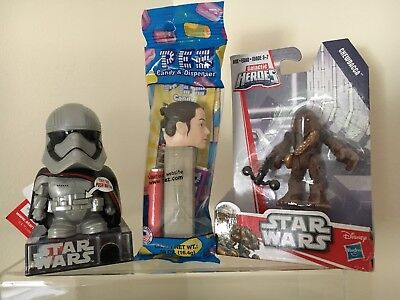 Star Wars~3 Collectibles~Chewbacca Figure,captain Phasma Talk Dispenser, Rey Pez