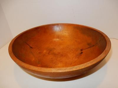 "Antique Wooden Bowl Primitive Munising 2nd Maple turned dough 13.5"" old wood"