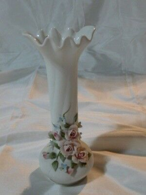 Vintage LEFTON CHINA Bud  Vase w/ Applied Flowers Hand Painted 829