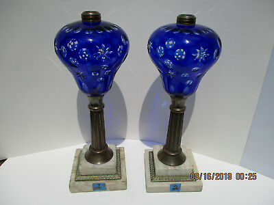 Pair of Rare Antique Cobalt/ Blue/ Sapphire Glass Whale Oil Lamps  ca. 1860