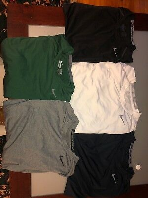 Lot Of 5 Nike Pro Fitted S/s Men's Large Dri Fit Black, White, Gray, Navy, Green