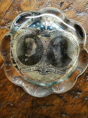 1908 Taft Sherman PAPERWEIGHT Vintage, Glass