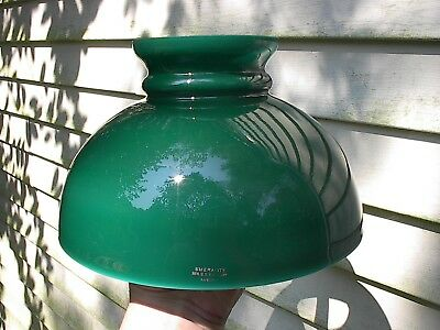 "SCARCE OLD c.1900 GREEN CASED GLASS EMERALITE ANTIQUE OIL LAMP SHADE 10"" FITTER"