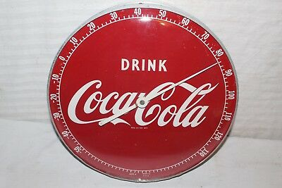 "Vintage 1950's Drink Coca Cola Soda Pop 12"" Metal & Glass Thermometer Sign"