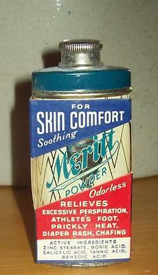 Old Advertising Tin Meritt Powder For Skin Comfort Meritt Chemical Greensboro NC