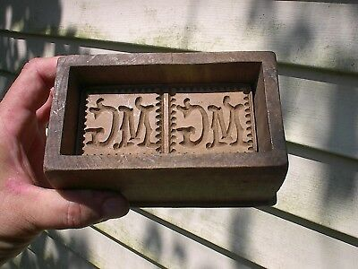 SCARCE OLD 1800s M G ORNATE HAND CARVED ANTIQUE WOOD BUTTER MOLD PRESS BOX