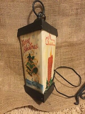 Vintage Antique Christmas Holiday Lantern w/ celluloid INSERTS - Works!