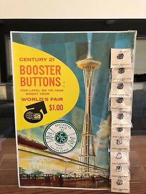 1962 Seattle Worlds Fair Booster Button Display Card