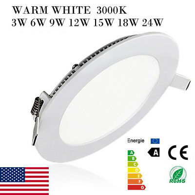 Recessed LED Ceiling Panel Light Flat Downlight Dimmable Round Indoor Room Decor