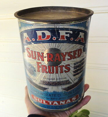"RAREST & BEST: SUN-RAYSED FRUIT 9"" HIGH TIN from MILDURA.  FABULOUS ITEM HERE."