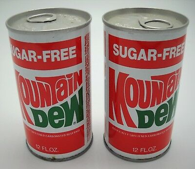 Vintage Sugar-Free Mountain Dew Tab-Top Soda Cans Howell, Michigan - Metallic