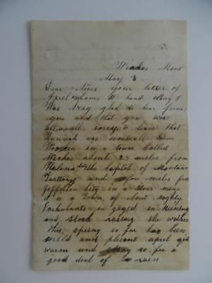 1879 Wickes Montana Territory Handwritten Letter from Silver Mine Miner Antique