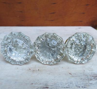 Set of 3 VTG Antique? 12 Point Sided Fluted Glass Door Knobs Brass Plated Base