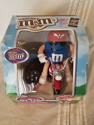 M&M's Red White Blue Motorcycle Candy Dispenser With Box NO CANDY