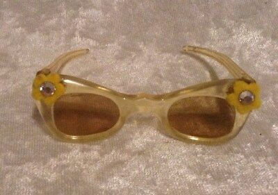 Vintage Madame Alexander CISSY DOLL Sunglasses Yellow with Daisy & Rhinestones