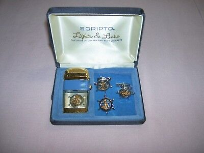Old Vintage Scripto Vu Gold Tone Lighter Cuff Links Tie clip Set with Case Ships