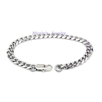 Unisex Men's Curb Stainless Steel Cuban Curb Chain Bracelet BF39