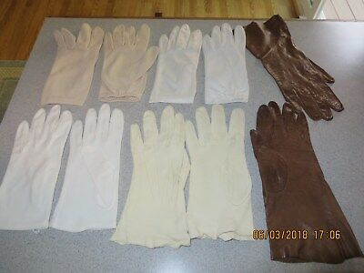 Lot of  5 pair Vintage Womens Gloves Nylon Wear Right Cotton White Brown