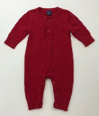 104e344f5db3 BABY GAP RED Cable Knit Sweater Romper One Piece Outfit Size 3-6 ...