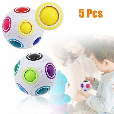 5Pcs Funny Rainbow Magic Ball Plastic Cube Twist Puzzle Toys For Kids Adult F7