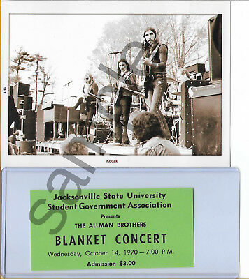Allman Brothers  1971 5 X 7 Photo And Blanket Show Ticket(Repro) + Gift