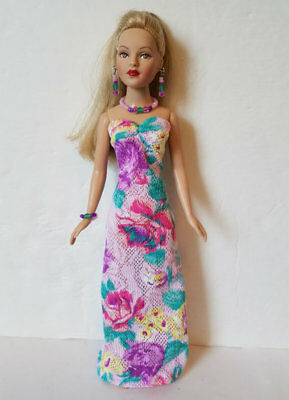 TINY KITTY Clothes BOUQUET Lavender Gown & Jewelry Handmade Fashion NO DOLL d4e