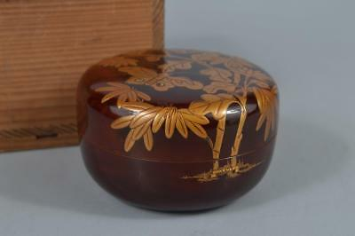 R482: Japanese XF Wooden Lacquer ware TEA CADDY Natsume Container Tea Ceremony