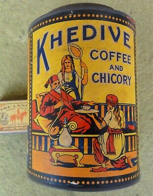 FABULOUS CONDITION & RARE!!  HARPER'S KHEDIVE COFFEE & CHICORY 1lb TIN.  WW2 era