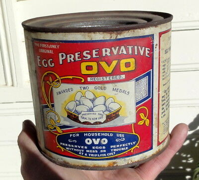 RARE COLOURFUL OVO EGG PRESERVER 44oz TIN from BALLARAT.  G.C.  HORSFALL TIN