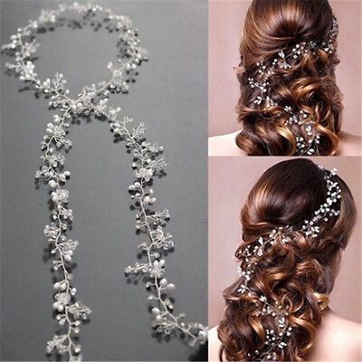 1xWomen Pearl Wedding Hair Vine Crystal Bridal Accessories Diamante Headbands US
