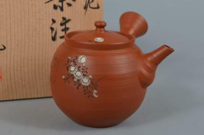 R441: Japanese Tokoname-ware Brown pottery TEAPOT Fugetsu made w/signed box