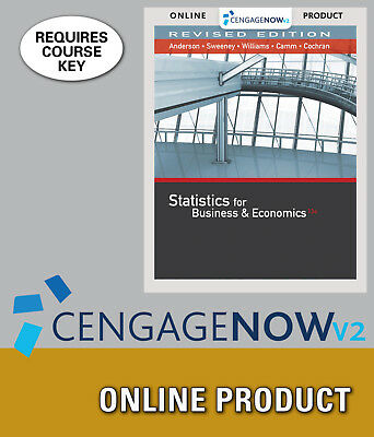 CengageNOW Anderson Statistics for Business & Economics Revised 13th Ed 6 Months