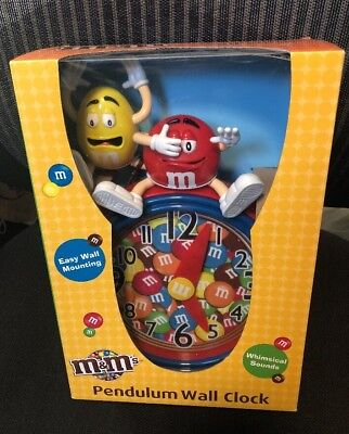 M&M's Pendulum Wall Clock Rare BNWT New Collectable