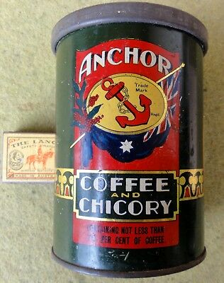 VERY UNUSUAL WOOD'S ANCHOR BRAND COFFEE & CHICORY 1lb TIN. Says Patent 1930.  EC