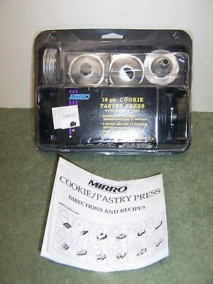 Mirro 16 pc. Cookie Pastry Press 12 Cookie Plates 3 Pastry Tips Vintage